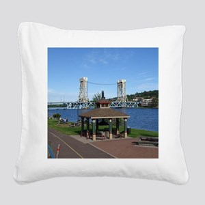 Portage Lake Bridge Square Canvas Pillow