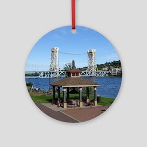 Portage Lake Bridge Round Ornament