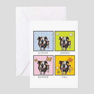 4 Seasons Bulldog Greeting Card