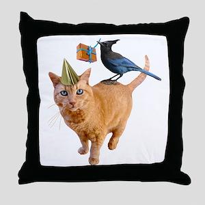 Cat Jay Birthday Throw Pillow