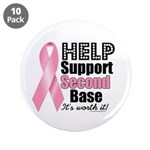 """Help Support 2nd Base 3.5"""" Button (10 pack)"""