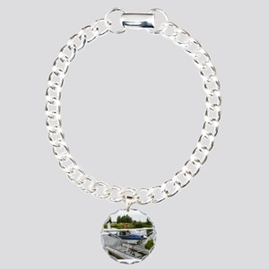 White & navy float p Charm Bracelet, One Charm