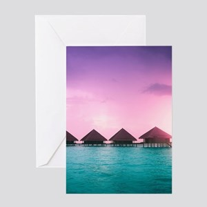 Ocean Bungalows Greeting Card