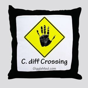C. diff Crossing Sign 02 Throw Pillow
