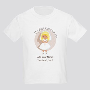 First Communion Blonde Hair Kids Light T-Shirt