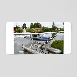 White & navy float plan Aluminum License Plate