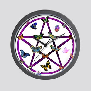 Wiccan Star and Butterflies Wall Clock
