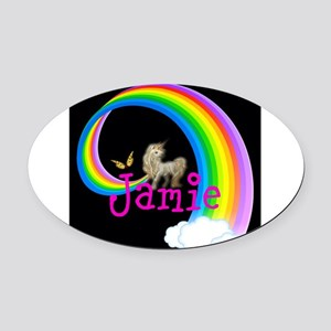 Unicorn rainbow personalize Oval Car Magnet