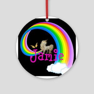 Unicorn rainbow personalize Round Ornament