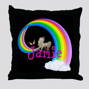 Unicorn rainbow personalize Throw Pillow