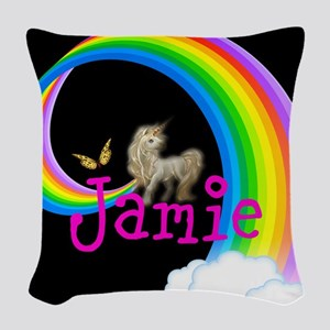 Unicorn Rainbow Personalize Woven Throw Pillow