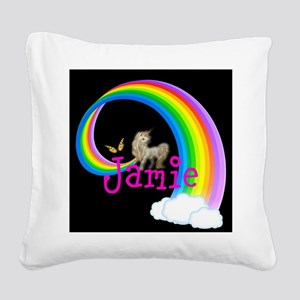 Unicorn rainbow personalize Square Canvas Pillow