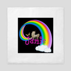 Unicorn rainbow personalize Queen Duvet