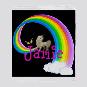 Unicorn Rainbow Personalize Throw Blanket