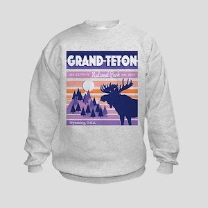 Grand Teton Mountain Moose Beautif Kids Sweatshirt