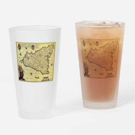 Cute Map of sicily Drinking Glass