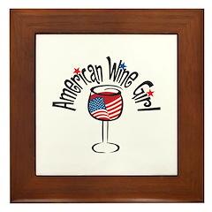 American Wine Girl Framed Tile