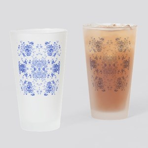 Vintage Delicate Blue Floral Drinking Glass