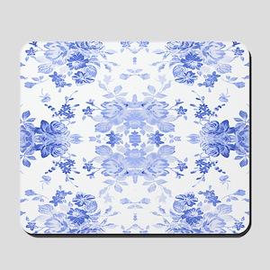 Vintage Delicate Blue Floral Mousepad