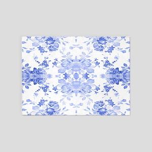 Vintage Delicate Blue Floral 5'x7'Area Rug