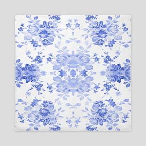 Vintage Delicate Blue Floral Queen Duvet
