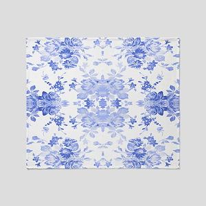 Vintage Delicate Blue Floral Throw Blanket
