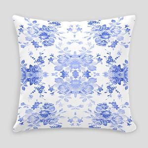 Vintage Delicate Blue Floral Everyday Pillow