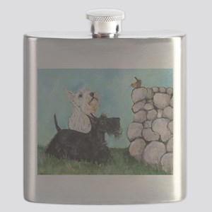 Scotties and Wren Flask