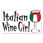 Italian Wine Girl Rectangle Sticker