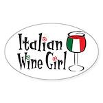 Italian Wine Girl Oval Sticker