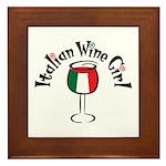 Italian Wine Girl Framed Tile