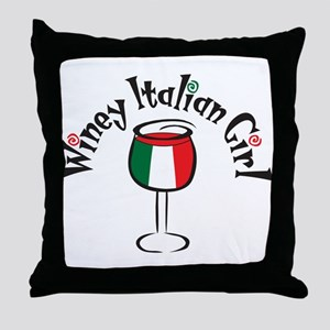 Winey Italian Girl Throw Pillow