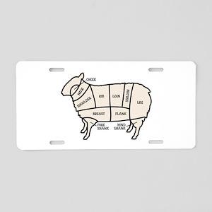 Lamb Cuts Aluminum License Plate