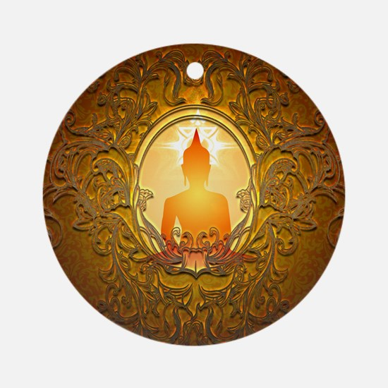 Buddha silhouette with floral elements Round Ornam
