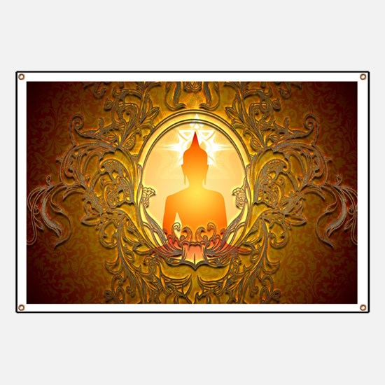 Buddha silhouette with floral elements Banner