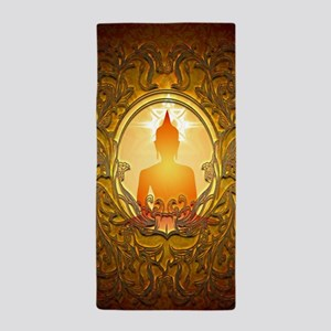 Buddha silhouette with floral elements Beach Towel