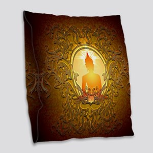 Buddha silhouette with floral elements Burlap Thro