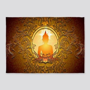 Buddha silhouette with floral elements 5'x7'Area R