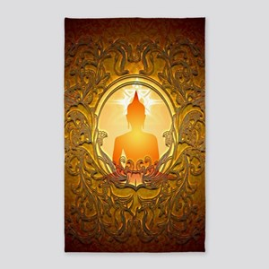 Buddha silhouette with floral elements Area Rug