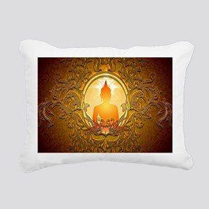 Buddha silhouette with floral elements Rectangular