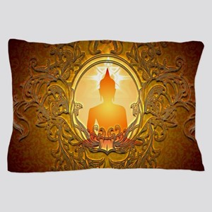 Buddha silhouette with floral elements Pillow Case