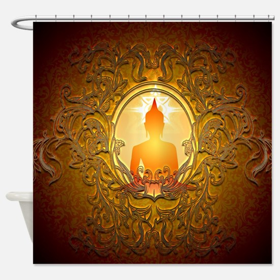Buddha silhouette with floral elements Shower Curt