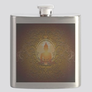 Buddha silhouette with floral elements Flask