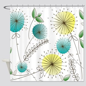 Mid Century Dandelion Clocks Shower Curtain