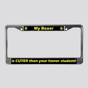 Honor Student Boxer License Plate Frame