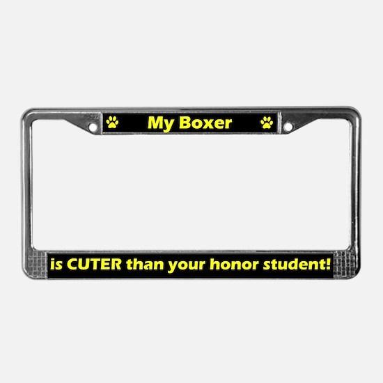 Honor Student Boxer License Plate Frame