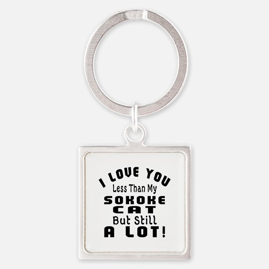 I Love You Less Than My Sokoke Cat Square Keychain