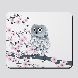 Cute Owl And Cherry Blossoms Mousepad