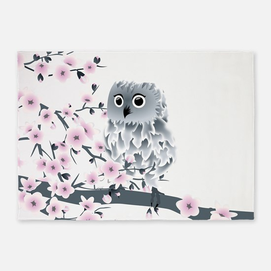 Cute Owl And Cherry Blossoms 5'x7'Area Rug