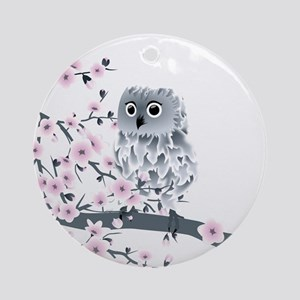 Cute Owl And Cherry Blossoms Round Ornament